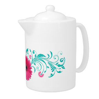 Pink Gerbera Daisy Turquoise Floral Teapot