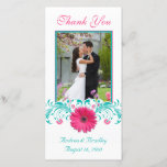 """Pink Gerbera Daisy Turquoise Floral Thank You<br><div class=""""desc"""">The text and wedding photo on this pink gerbera daisy turquoise floral thank you card is fully customizable. You can change them using the personalize option. For more extensive changes to the card, including changing the font, font color, or font layout, choose the customize option. This is a great thank...</div>"""