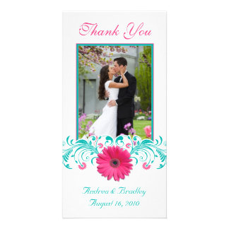 Pink Gerbera Daisy Turquoise Floral Thank You Photo Card