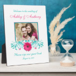 Pink Gerbera Daisy Turquoise Floral Wedding Photo Plaque