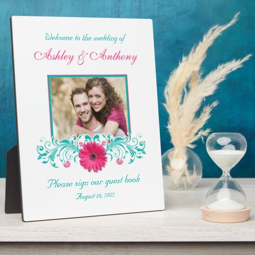 Pink Gerbera Daisy Turquoise Floral Wedding Photo Display Plaques
