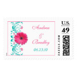 Pink Gerbera Daisy Turquoise Floral Wedding Stamp