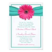 Pink Gerbera Daisy Turquoise Ribbon Wedding Card