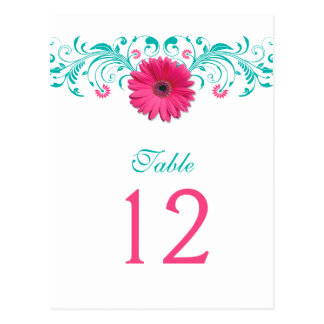 Pink Gerbera Daisy Turquoise Table Number Card
