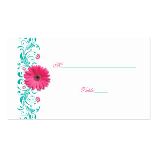Pink Gerbera Daisy Turquoise Wedding Place Card Double-Sided Standard Business Cards (Pack Of 100)