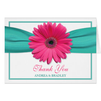 Pink Gerbera Daisy Turquoise Wedding Thank You 3 Cards