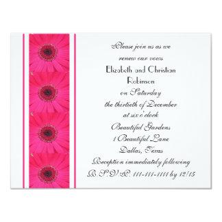 "Pink Gerbera Daisy Vow Renewal Invitation 4.25"" X 5.5"" Invitation Card"