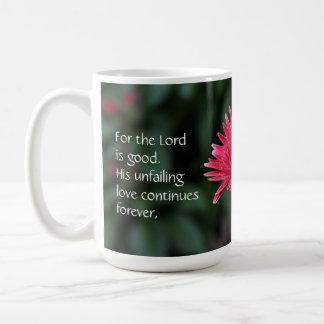 Pink Gerbera Daisy w/ Scripture Verse Classic White Coffee Mug