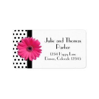 Pink Gerbera Daisy Wedding Address Labels label