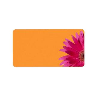 Pink Gerbera Daisy Wedding Blank Address Labels