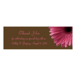 Pink Gerbera Daisy Wedding Favor Tag Double-Sided Mini Business Cards (Pack Of 20)
