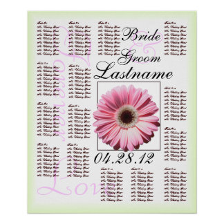 Pink Gerbera Daisy Wedding Guest Seating Chart Poster