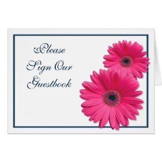 Pink Gerbera Daisy Wedding Guestbook Sign Card card