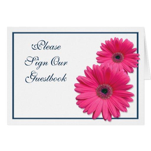Pink Gerbera Daisy Wedding Guestbook Sign Card