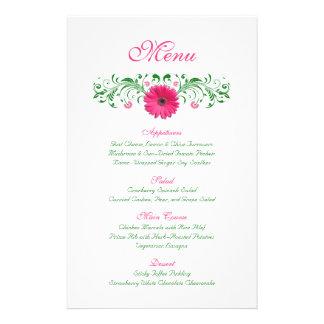 Pink Gerbera Daisy Wedding Menu Card