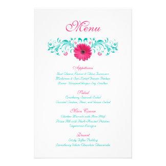 Pink Gerbera Daisy Wedding Menu Card Flyer Design
