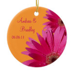Pink Gerbera Daisy Wedding or Anniversary Ornament