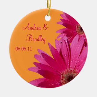 Pink Gerbera Daisy Wedding or Anniversary Ornament