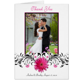Pink Gerbera Daisy Wedding Photo Thank You Card