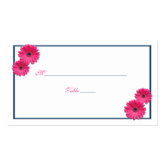 Pink Gerbera Daisy Wedding Place Cards Double-Sided Standard Business Cards (Pack Of 100)
