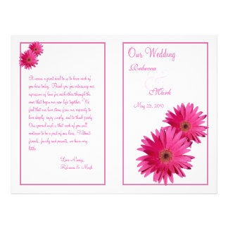 Pink Gerbera Daisy Wedding Program Flyer Design