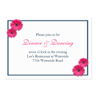 Pink Gerbera Daisy Wedding Reception Card Large Business Cards (Pack Of 100)