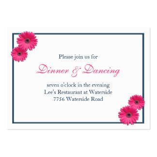 Pink Gerbera Daisy Wedding Reception Card Large Business Card
