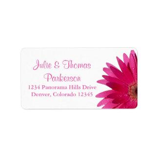Pink Gerbera Daisy Wedding Return Address Label