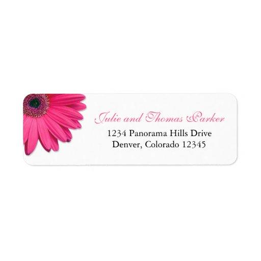 Pink Gerbera Daisy Wedding Return Address Labels