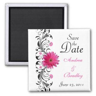 Pink Gerbera Daisy Wedding Save the Date Magnet