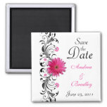 Pink Gerbera Daisy Wedding Save the Date Magnet