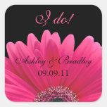 Pink Gerbera Daisy Wedding Sticker Envelope Seal