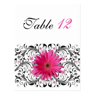 Pink Gerbera Daisy Wedding Table Number Card Postcard