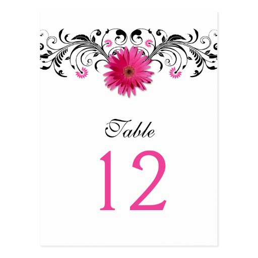 Pink Gerbera Daisy Wedding Table Number Card Post Cards