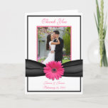 Pink Gerbera Daisy Wedding Thank You Card