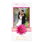 Pink Gerbera Daisy Wedding Thank You Photocard Photo Greeting Card