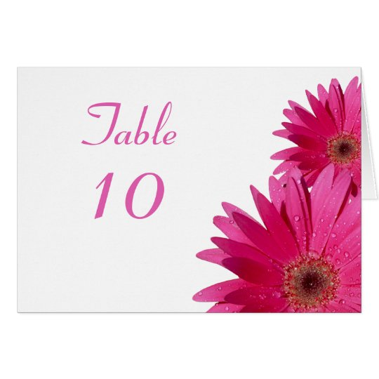Pink Gerbera Daisy White Wedding Tent Table Card