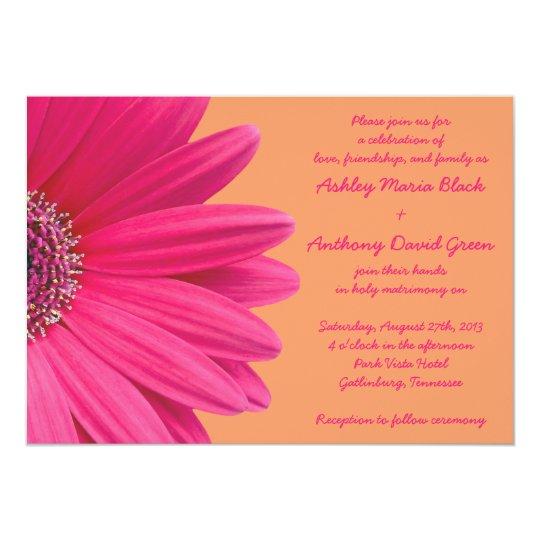 Gerbera Wedding Invitations: Pink Gerbera Daisy With Orange Wedding Invitation