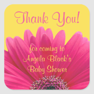 Pink Gerbera Daisy Yellow Baby Shower Thank You Square Sticker