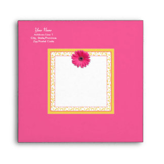 Pink Gerbera Daisy Yellow Floral Square Envelope