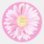 Pink Gerbera Envelope Seal (Optional Background) Round Sticker