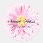 Pink Gerbera Envelope Seal Round Stickers