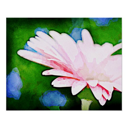 Pink Gerbera Floral Art Poster