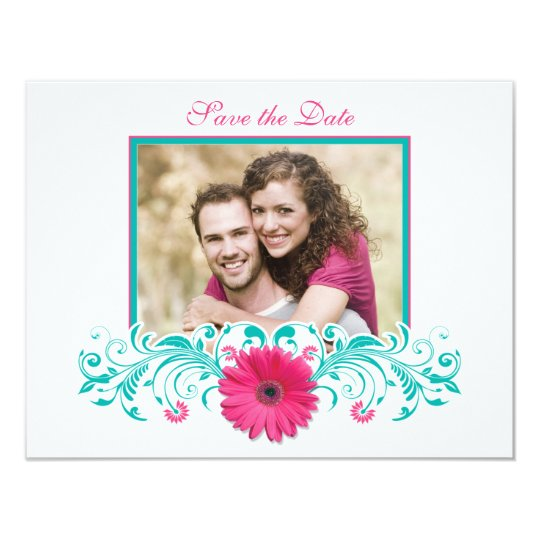 Pink Gerbera Floral Save the Date Card