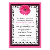 Pink Gerbera Floral Sweet 16 Birthday Invitation