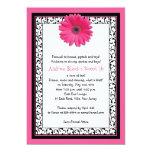 "Pink Gerbera Floral Sweet 16 Birthday Invitation 5"" X 7"" Invitation Card"