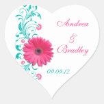 Pink Gerbera Floral Wedding Envelope Seal Sticker