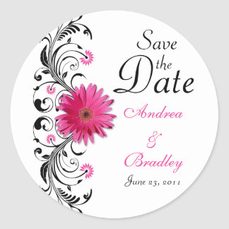 Pink Gerbera Floral Wedding Save the Date Sticker