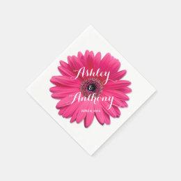 Pink Gerbera Gerber Daisy Personalized Wedding Napkin