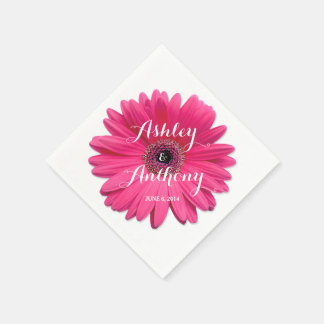 Pink Gerbera Gerber Daisy Personalized Wedding Napkin